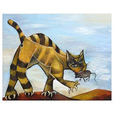 Tomcat with Mouse | 2015 | Oil painting | Erik Renssen (NL. 1960)