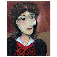 Romee in a Fur Hat II | 2015 | Oil painting | Erik Renssen (NL. 1960)