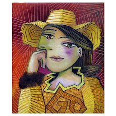 Woman in a Yellow Hat | 2016 | Oil painting | Erik Renssen (NL.1960)