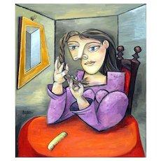 Young Girl Braiding her Hair | 2016 | Oil painting | Erik Renssen (NL.1960)