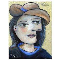 Woman in a Brown Hat | 2016 | Oil painting | Erik Renssen (NL.1960)