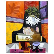 Young Man at the Grand Piano | 2016 | Oil painting | Erik Renssen (NL.1960)