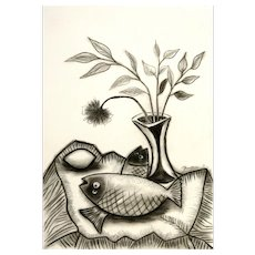 Two Fish, a Lemon and Flower in a Vase | 2016 | Charcoal drawing | Erik Renssen (NL.1960)