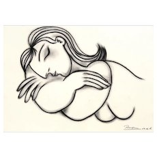Sleeping Nude | 2016 | Charcoal drawing | Erik Renssen (NL.1960)