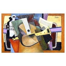Guitar, Sheet Music & a bottle of Grand Marnier | 2016 | Oil painting | Erik Renssen (NL.1960)