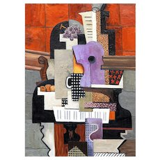 Guitar, bottle, mug, fruit and grapes on a piano | 2016 | Oil painting | Erik Renssen (NL.1960)