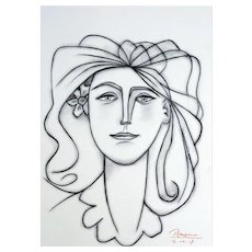 Woman with flower behind her ear   2017   Charcoal drawing   Erik Renssen (NL. 1960)