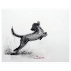 Dog 1 | 2018 | Charcoal drawing | Erik Renssen (NL. 1960)