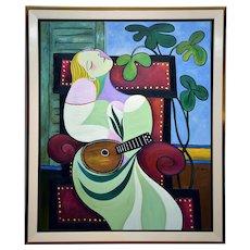 Dreaming woman with mandolin   2019   Oil Painting   Erik Renssen (NL. 1960)