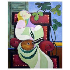 Dreaming woman with mandolin   2019   Piezograph   Edition of 10   Erik Renssen (NL. 1960)