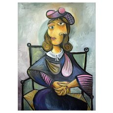Seated woman in a pink baret | 2021 | Piezograph | Edition of 10 | Erik Renssen (NL. 1960)