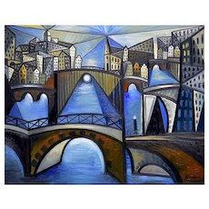Amsterdam by night   2021   Oil Painting   Erik Renssen (NL. 1960)