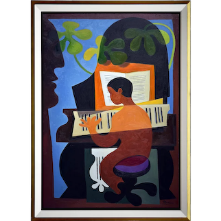 Playing the piano   2021   Oil painting   Erik Renssen (NL. 1960)