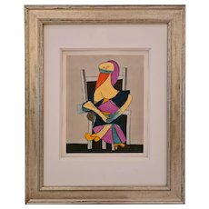Seated woman, 1938 after Picasso   1955   Pablo Picasso   Hand Colored Pochoir