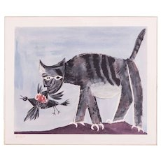 The Cat, Pablo Picasso | Hand Colored Pochoir