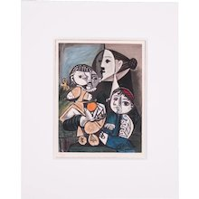 Mother with Children, Pablo Picasso | Hand Colored Pochoir