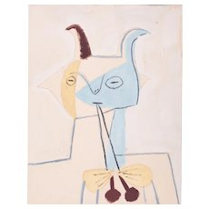 Faun playing double Flute, Pablo Picasso | Hand Colored Pochoir