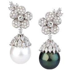 Pair of Pearl & Diamond Earrings