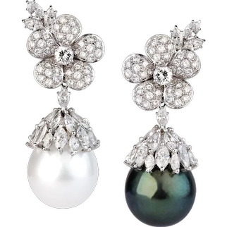 Pair of Pearl & Diamond Earrings