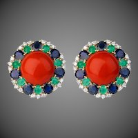 Coral Earrings with Diamonds, Sapphires & Emeralds