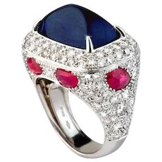 Sapphire, Diamond & Ruby Ring