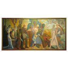 """Belgian Antwerp Art Deco painting """"4 seasons"""" by Jos Desmedt (1894)"""