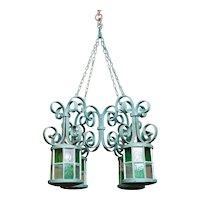 Belle epoque wrought iron orangery chandelier