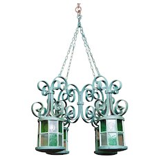 Belle epoque wrought iron orangery chandelier