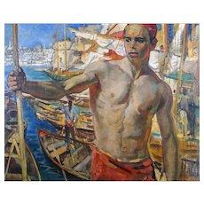 Dutch dock labourer in Smyrna painting by Grauss, 19th century