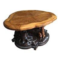 Victorian oak Black Forest style centre table