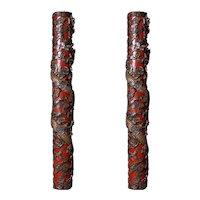 Pair of polychrome Chinese dragon columns, Shangai 1895