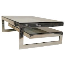 Cantileverd Silver Chrome & Smokey Glass G Coffee Table Mid Century
