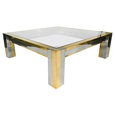 Superb Paul Evans Style Large Coffee Table With Smoke Glass Top