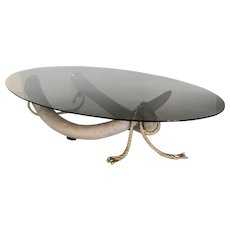 Large Smoke Glass & Brass Tusk Base Coffee Table