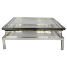 1970's Perspex Table High Polished Chrome Edging