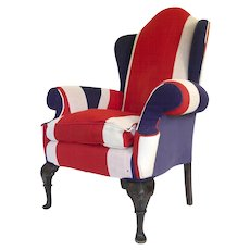 Union Jack Upholstered Queen Anne Wing Back Chair