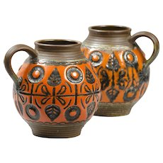 Pair of Glazed Ceramic Jugs