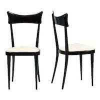 Set of six elegant Italian dining chairs