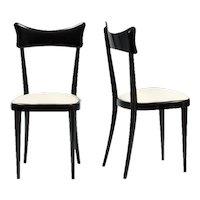 Set of six elegant Italian dining chairs