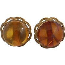 18Kt Gold Amber Earrings