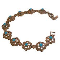 1960s Silver bracelet with turquoise