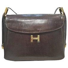 1970s Hermes Brown lizard leather bag