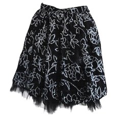 1970s Liliana Sanguinetti Black Silver Skirt