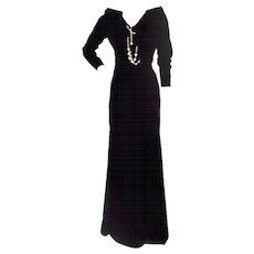 1970s Valentino black long dress with white pearls