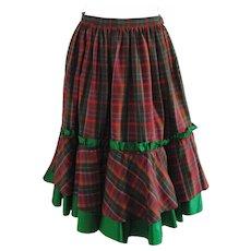 1980s Christian Dior Tartan Skirt
