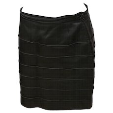 1980s Genny by Gianni Versace Black Leather skirt