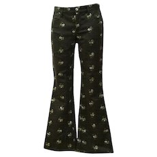 1980s Moschino Jeans Green Flowers embellished Pants