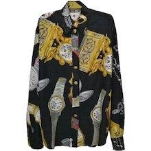 """1980s Moschino Milano Black """"Watches"""" Shirt"""