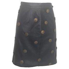1980s Moschino black leather skirt