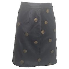 1980s Moschino black leather skirt